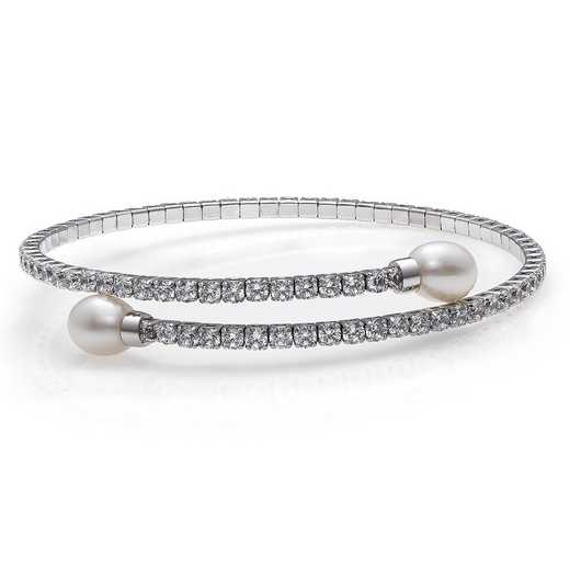 QB-10974-BF: Sterling Silver 7-8MM Drop  Freshwater Pearl And CZ Flex Bangle  Bracelet