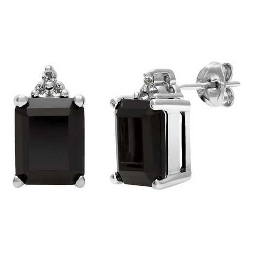 QE-10646-BF: SS 10x8mm Black Onyx & White Topaz Earrings