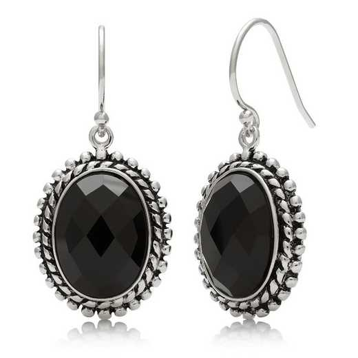 QE-11857-BF: SS 14x10mm Faceted Black Onyx Earrings