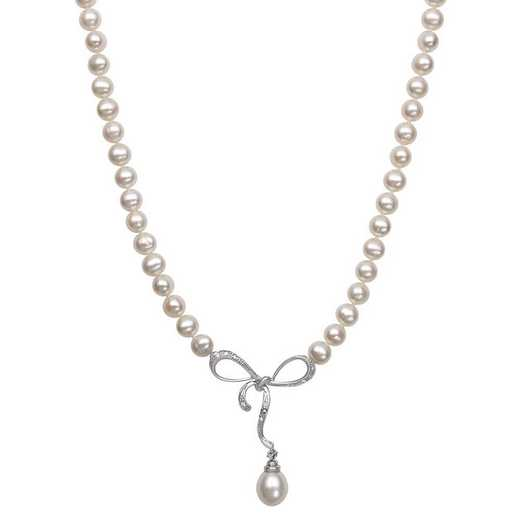 QN-10474-BF: Sterling Silver 5-6MM Freshwater Pearl Necklace With 8-9MM Drop Pearl