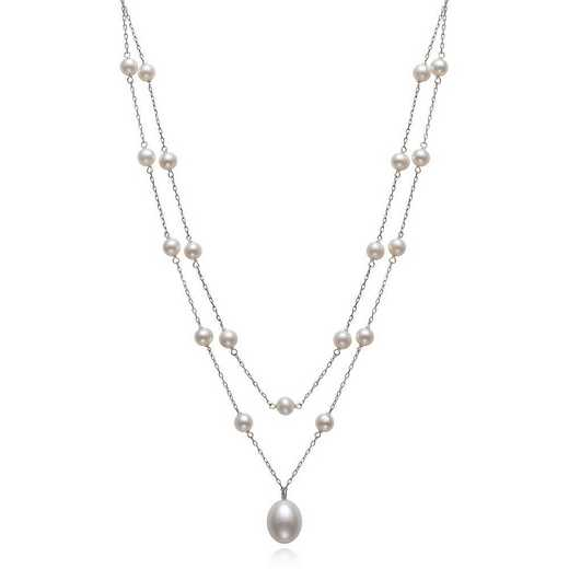 QN-11003-BF: Sterling Silver 5-6MM & 9-10MM Freshwater Pearl Necklace