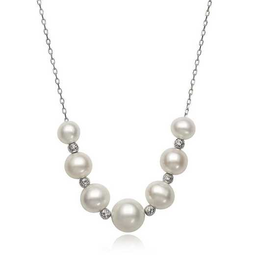 QN-11480-BF: Sterling Silver 6-9.5MM Freshwater Pearl & Bead Necklace