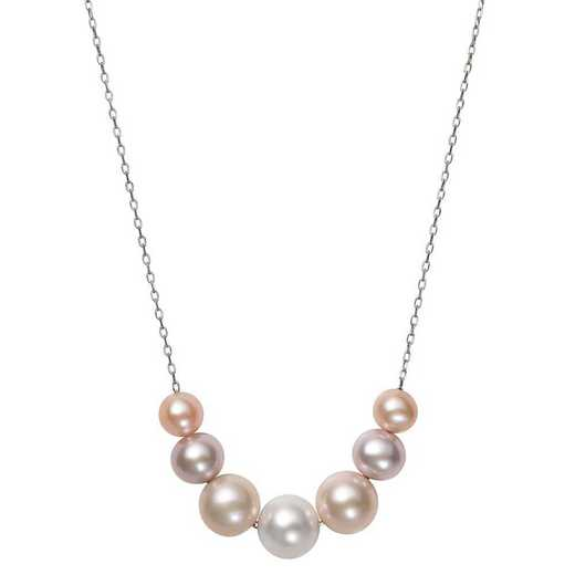 QN-11481-BF: Sterling Silver 6-9.5MM Multi-Color Freshwater Pearl Necklace
