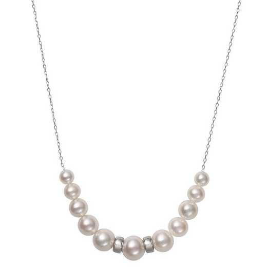 QN-11667-BF: Sterling Silver 6-9.5MM Freshwater Pearl & Rondelle Necklace