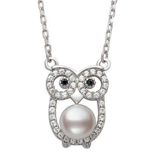 QN-11913-BF: Sterling Silver 6-7MM Freshwater Pearl & Lab Created Sapphire Owl Necklace