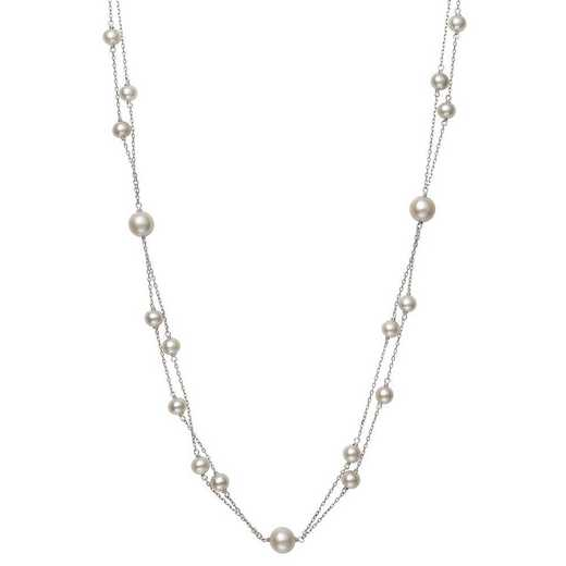 QN-11942-BF: Sterling Silver 5-6MM & 7.5-8.5MM Multi-Row Freshwater Station Necklace