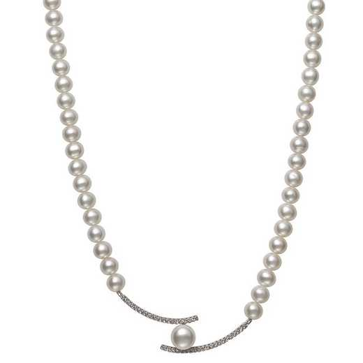 QN-11947-BF: Sterling Silver 5-6MM & 7-8MM Freshwater Pearl & CZ Necklace