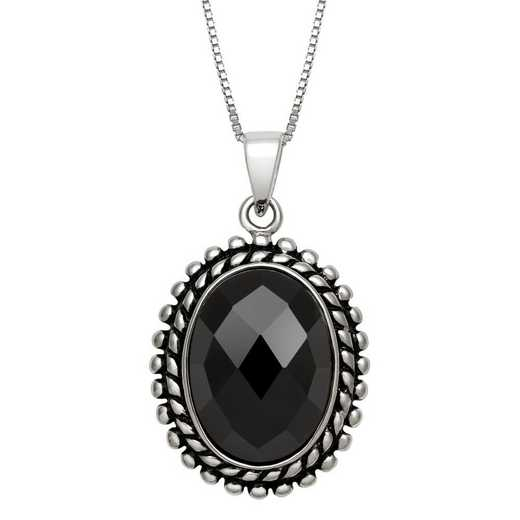 QP-11038-BF: SS 14x10mm Faceted Black Onyx Pendant