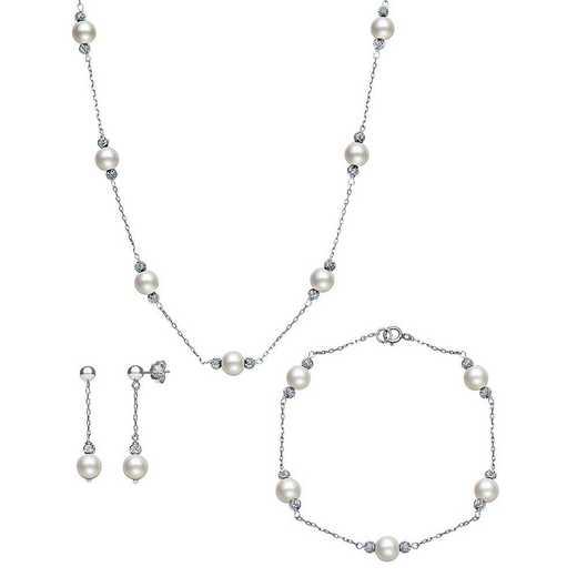 QSET-10676-BF: Sterling Silver 6-7MM Freshwater Pearl & Bead Necklace Bracelet & Earring Set