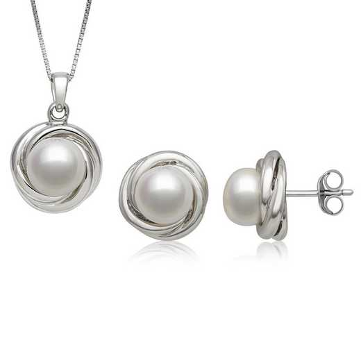 QSET-10921-BF: Sterling Silver Freshwater Pearl Earring & Pendant Set