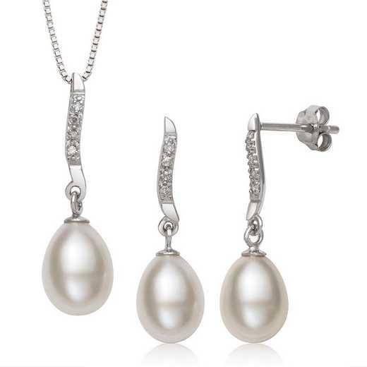 QSET-11213-BF: Sterling Silver Freshwater Pearl & Diamond Earring & Pendant Set