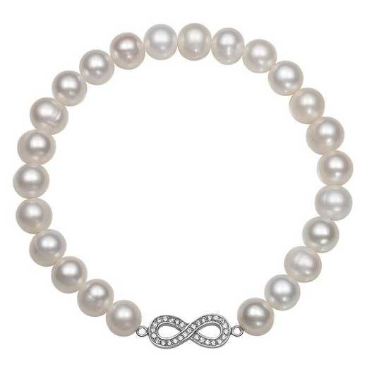 QB-10767-BF: Sterling Silver 7-8MM Freshwater Pearl And CZ  Infinity Charm Strch Bracelet