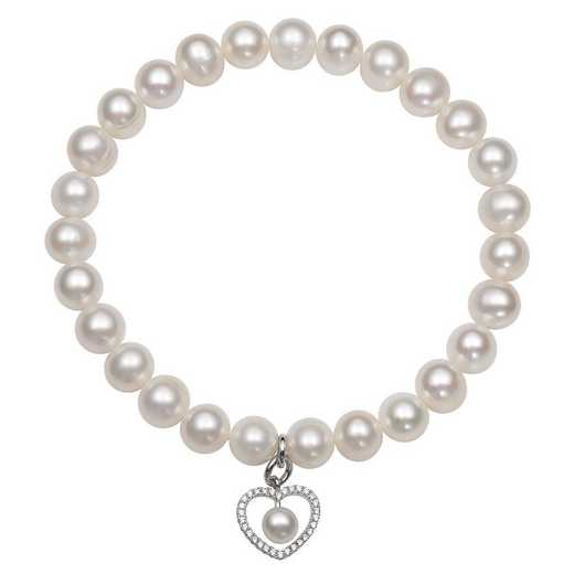 QB-10770-BF: Sterling Silver 7-8MM Freshwater Pearl And CZ  Heart Charm Strch Bracelet