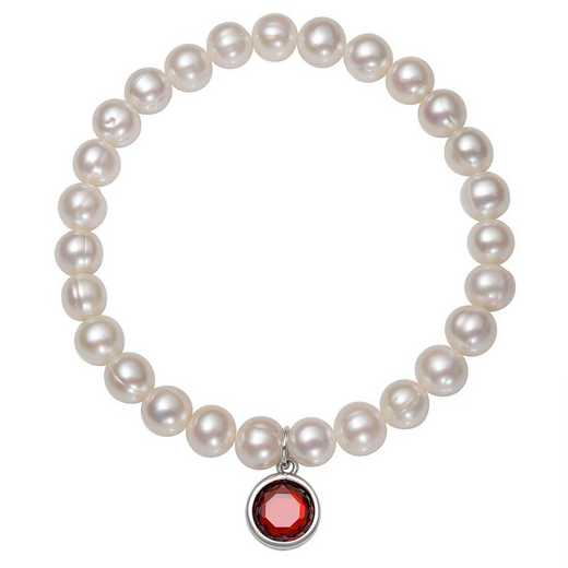 QB-10920-1-BF: Sterling Silver 7-8MM Freshwater Pearl & CZ Charm Stretch Bracelet