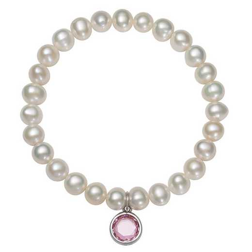 QB-10920-10-BF: Sterling Silver 7-8MM Freshwater Pearl & CZ Charm Stretch Bracelet