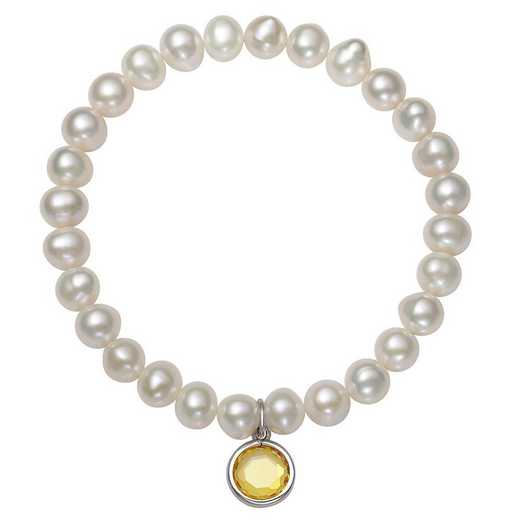 QB-10920-11-BF: Sterling Silver 7-8MM Freshwater Pearl & CZ Charm Stretch Bracelet