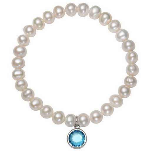 QB-10920-12-BF: Sterling Silver 7-8MM Freshwater Pearl & CZ Charm Stretch Bracelet