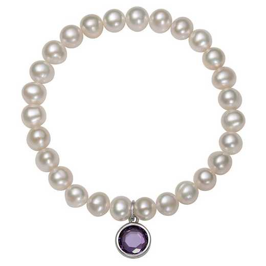 QB-10920-2-BF: Sterling Silver 7-8MM Freshwater Pearl & CZ Charm Stretch Bracelet
