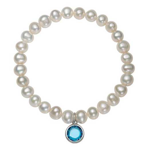 QB-10920-3-BF: Sterling Silver 7-8MM Freshwater Pearl & CZ Charm Stretch Bracelet