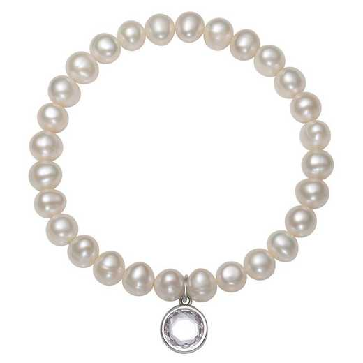 QB-10920-4-BF: Sterling Silver 7-8MM Freshwater Pearl & CZ Charm Stretch Bracelet