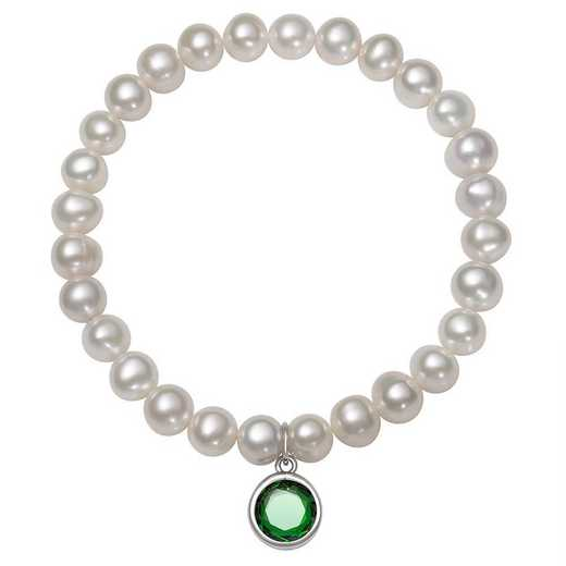 QB-10920-5-BF: Sterling Silver 7-8MM Freshwater Pearl & CZ Charm Stretch Bracelet