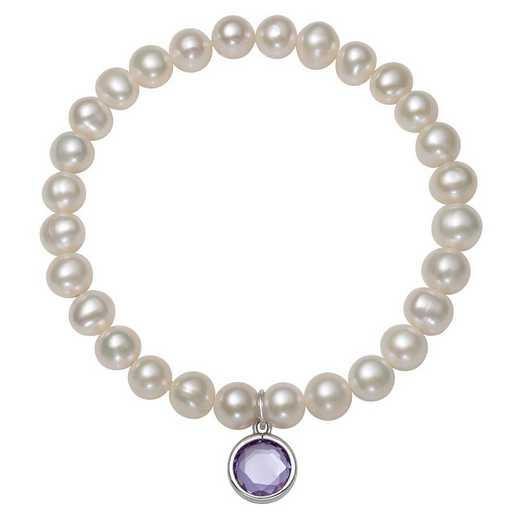 QB-10920-6-BF: Sterling Silver 7-8MM Freshwater Pearl & CZ Charm Stretch Bracelet