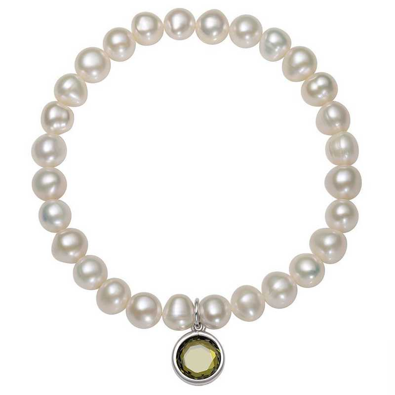 QB-10920-8-BF: Sterling Silver 7-8MM Freshwater Pearl & CZ Charm Stretch Bracelet
