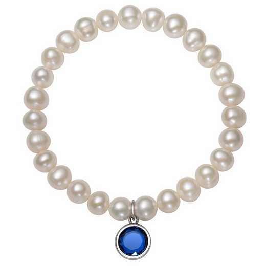 QB-10920-9-BF: Sterling Silver 7-8MM Freshwater Pearl & CZ Charm Stretch Bracelet