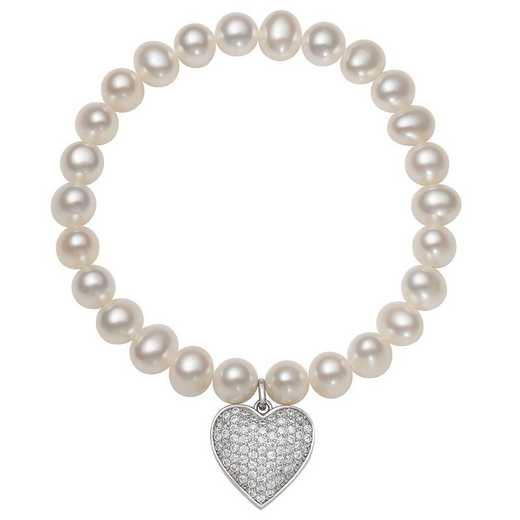 QB-10956-BF: Sterling Silver 7-8MM Freshwater Pearl And CZ  Heart Charm Strch Bracelet