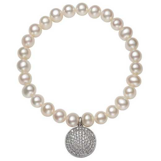 QB-10957-BF: Sterling Silver 7-8MM Freshwater Pearl And CZ  Disc Charm Strch Bracelet