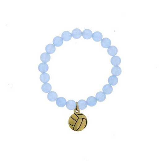 DBJ-BRC-2804BBQ: Gold tone Pewter volleyball charm  with  baby blue quartzite