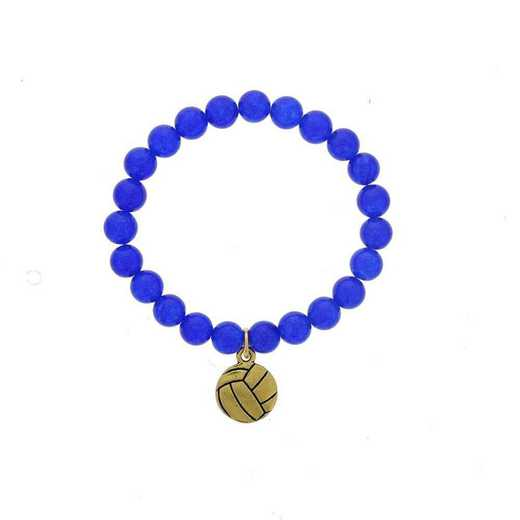 DBJ-BRC-2804BQ: Gold tone Pewter volleyball charm  with  blue quartzite