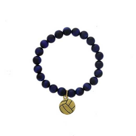 DBJ-BRC-2804BTE: Gold tone Pewter volleyball charm  with  blue tiger eye