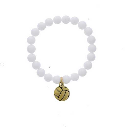 DBJ-BRC-2804CWQ: Gold tone Pewter volleyball charm  with  white quartzite