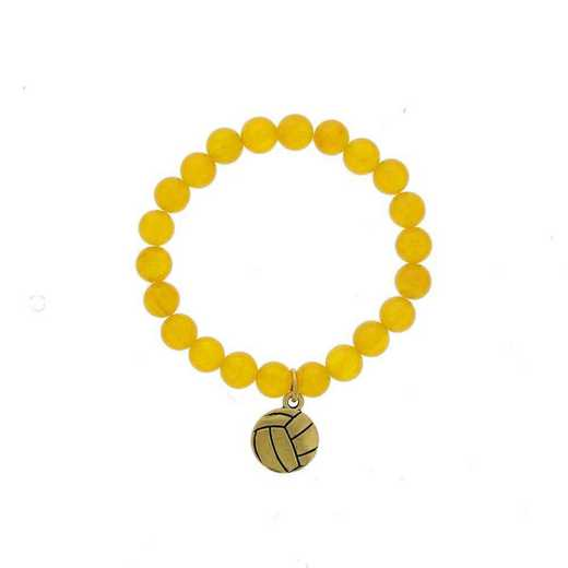 DBJ-BRC-2804DYQ: Gold tone Pewter volleyball charm with dark yellow quartzite