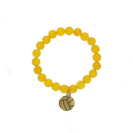 DBJ-BRC-2804DYQ: Gold tone Pewter volleyball charm with dark yellow quartzite