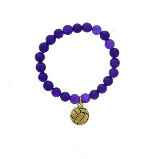 DBJ-BRC-2804PQ: Gold tone Pewter volleyball charm  with  purple quartzite