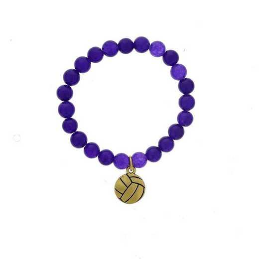 DBJ-BRC-2804PQ: Gold tone Pewter volleyball charm  with  purple quartzite