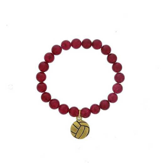DBJ-BRC-2804RBY: Gold tone Pewter volleyball charm  with  ruby agate