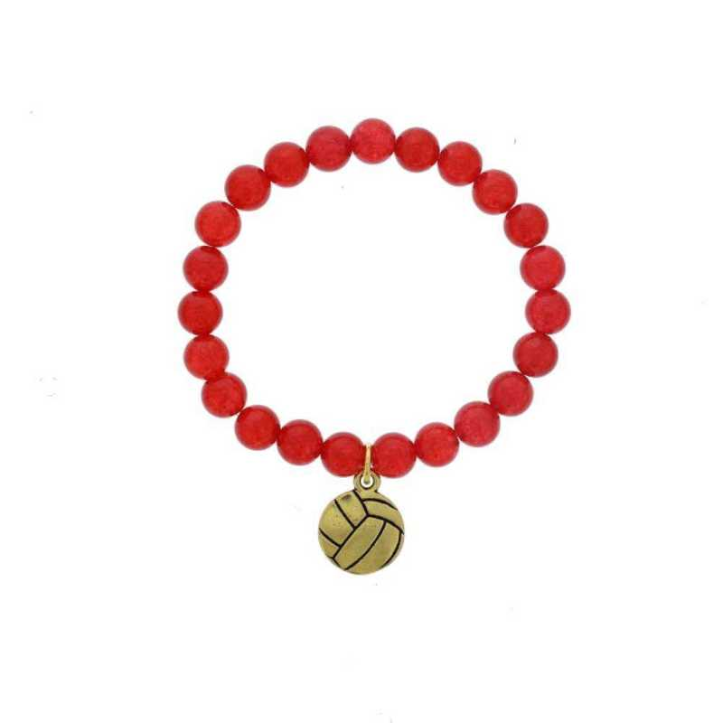 DBJ-BRC-2804RQ: Gold tone Pewter volleyball charm  with  red quartzite