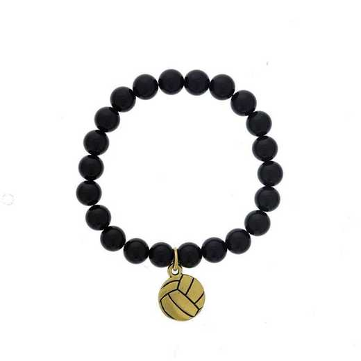 DBJ-BRC-2804SBA: Gold tone Pewter volleyball charm with shiny black quartzite
