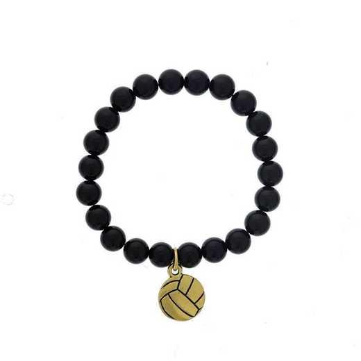 DBJ-BRC-2804SBA: Gold tone Pewter volleyball charm with shiny black quartzite