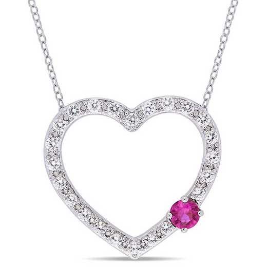 BAL000590: 1 1/8 CT TGW Ruby Created WHT Sapphire Heart Necklace  SS