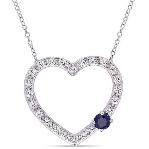 BAL000591: 1 1/8 CT TGW Created BLU  WHT Sapphire Heart Necklace  SS