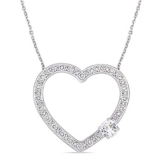 BAL000592: 1 1/7 CT TGW Created WHT Sapphire Heart Necklace  SS