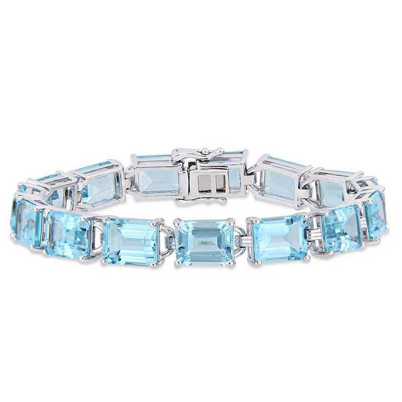 BAL000593: 59 3/4 CT TGW Emerald-Cut Sky-BLU Topaz Tennis Bracelet  SS