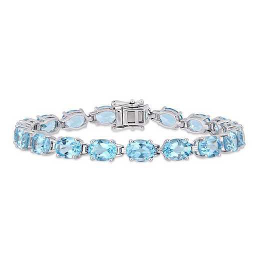BAL000595: 28 1/2 CT TGW Oval-Cut Sky-BLU Topaz Tennis Bracelet  SS