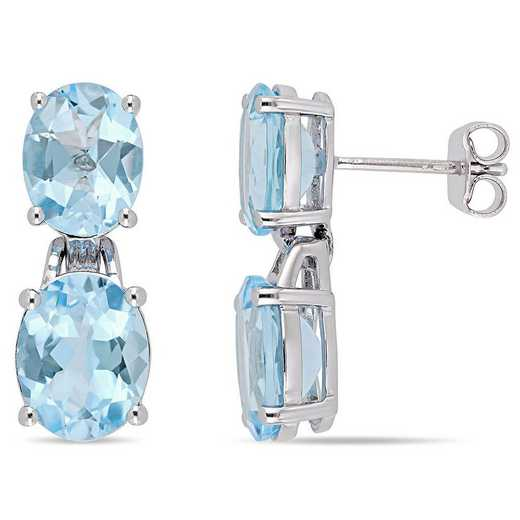 BAL000614: 12 5/8 CT TGW Oval-Cut Sky-BLU Topaz Dangle Earrgs  SS