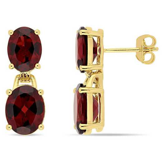 BAL000616: 10 1/5 CT TGW Oval-Cut Garnet Dangle Earrgs  YLW GLD pltd SS