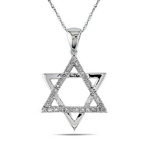 BAL000624: 1/10 CT TW Dmnd Star of David PNDT W/ Cha  10k WHT GLD